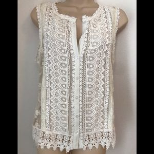 Freeway Lace Button Up Top